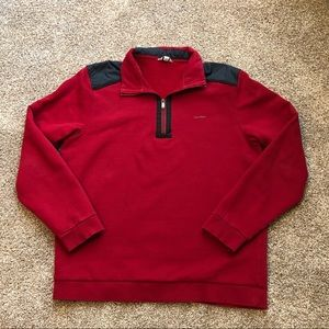 Calvin Klein Dark Red 1/2 Zip Pullover Sweatshirt